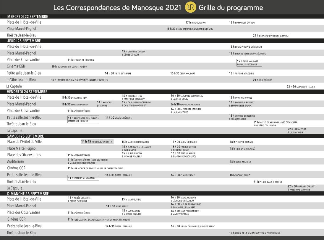 Grille du programme - Festival Les Correspondances de Manosque 2021