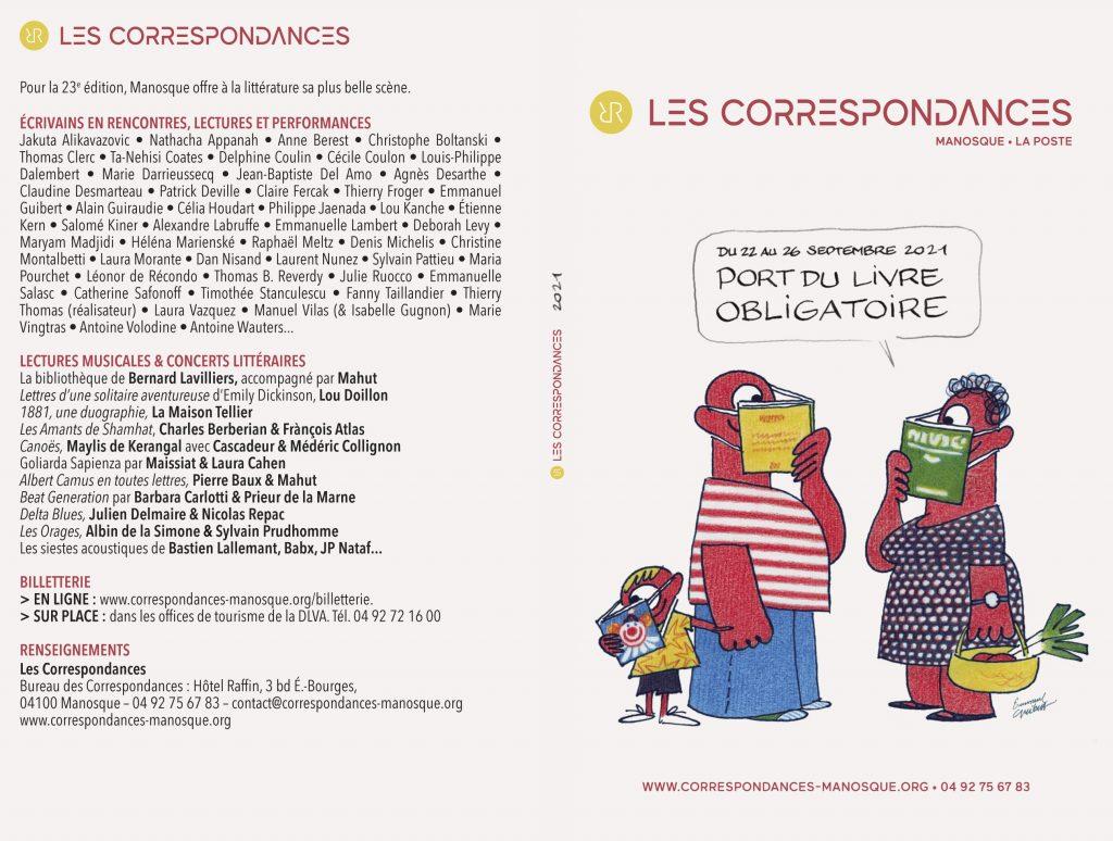 Couverture programme festival Les Correspondances 2021