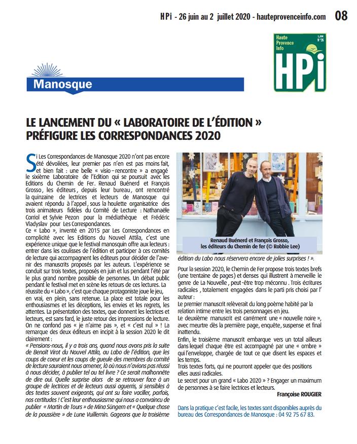 """Article de presse - HPI n°26 - 2020 - """"Lancement du laboratoire de l'édition préfigure les Correspondances 2020"""""""
