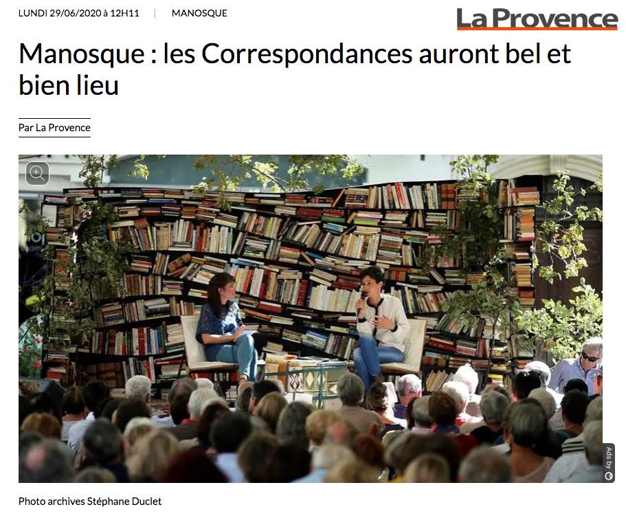 """Article La Provence - 2020 - """"Manosque : les Correspondances auront bel et bien lieu"""""""