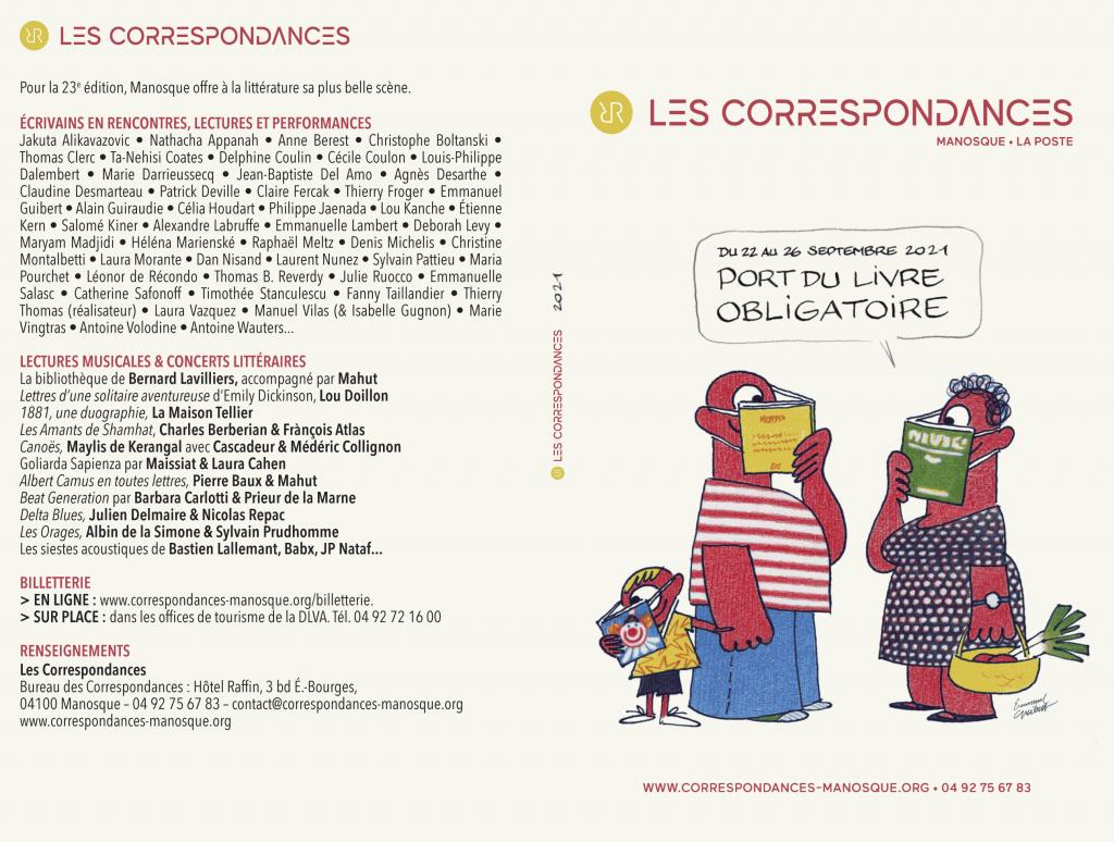 Couverture du programme 2021 - Les Correspondances de Manosque